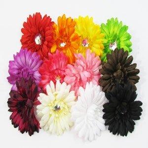 """12 4"""" Gerber Daisy Silk Flowers Artificial Dozen Flowerheads Assorted Colors 44"""