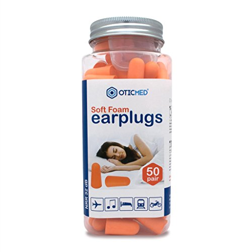 50 Pair Value Pack OTICMED Foam Ear Plugs for Sleeping + FREE Carrying Case - USA Certified BEST Earplugs to Block Out Snoring, Traffic & Noisy Neighbors - #1 Latex Free Ear Plugs for Restful Nights