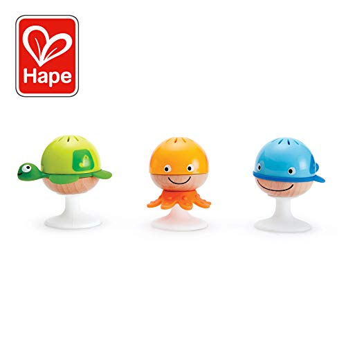 Hape Put-Stay Rattle Set | Three Sea Animal Suction Rattle Toys, Baby Educational Toy Set
