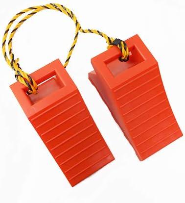 ホップ タイヤ歯止め TSS-オレンジ 車止めダブル(2個組の1.2Mロープ付)1セット
