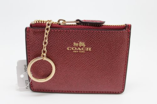 Coach Metallic Crossgrain Leather Mini Skinny ID Wallet Key Pouch Logo Metallic Cherry