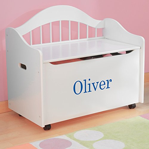 Personalized Premium Edition Toy Box - White, Boys with Custom Font Choices