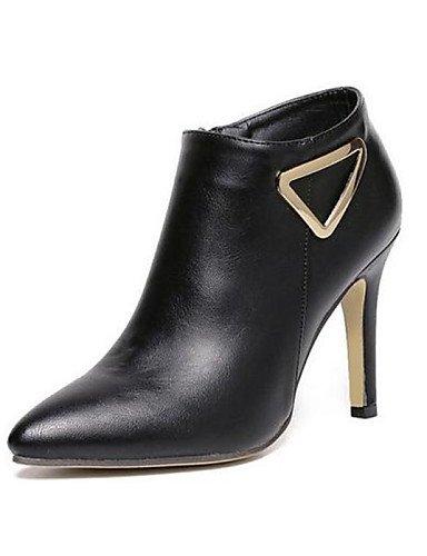 Black Botas Puntiagudos Stiletto Zapatos Xzz Cn36 Semicuero De Uk4 Uk6 Eu36 Negro us8 Mujer Black Eu39 us6 Cn39 Casual Tacón cndACqvC