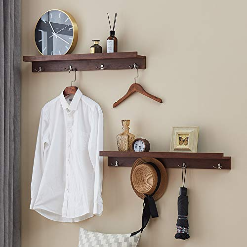 O&K FURNITURE 31.5 Inches Entryway Shelves with Hooks Wall Mounted, Coat Hooks Rack with Shelf (Espresso-Teak, Set of 2)