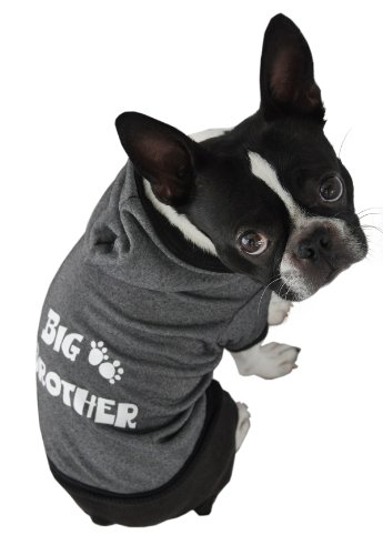 Ruff Ruff and Meow Dog Hoodie, Big Brother, Black, Medium, My Pet Supplies