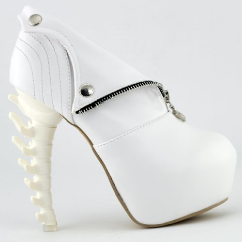 Show Story Ladies Hollow Zipper Press-Stud Rocky Shoes,LF40605WT40,8.5US,White (Sexy Womens Boots)