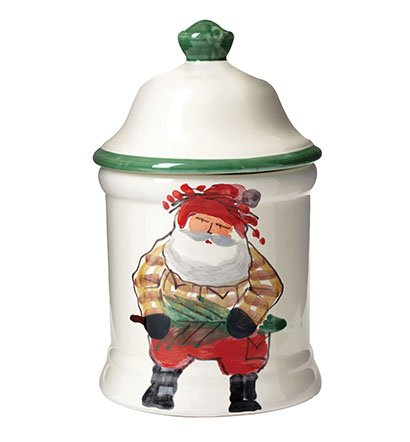 Vietri Holiday Santa Old St. Nick Medium Canister