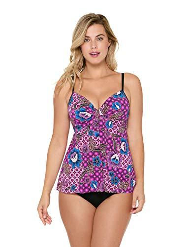 Christina Women's Push Up Drape Front Tankini Swimsuit, Kazzbar, 14