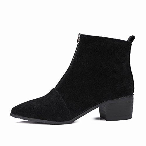 Charm Foot Womens New Chic Tacco Grosso Stivaletti Alla Caviglia Con Cerniera Nera