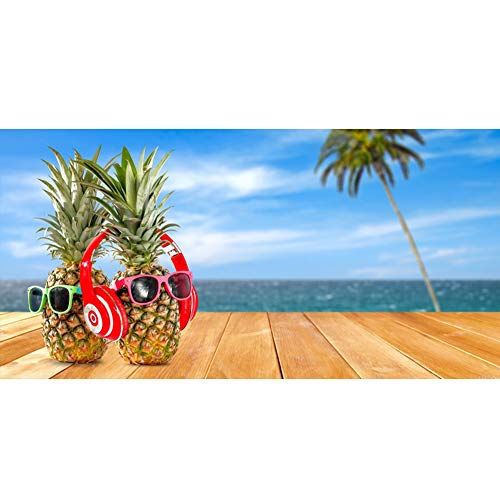 - Leowefowa 20x10ft Large Vinyl Photography Backdrop Seaside Wooden Table Cute Pineapples Sunglasses Headset Background for Photography Event Filming Party Decoration Studio Photo Booth Backdrop 20x10ft