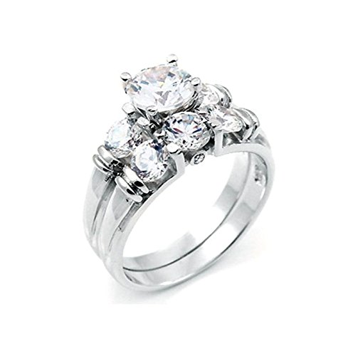 2 ct Brilliant cut Past Present Future Bridal Wedding ring designer 2 Piece Set 925 Silver Cut Past Present
