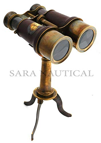 Nautical Brass Binocular Leather Antique Desk Telescope with Table Tripod Stand ()