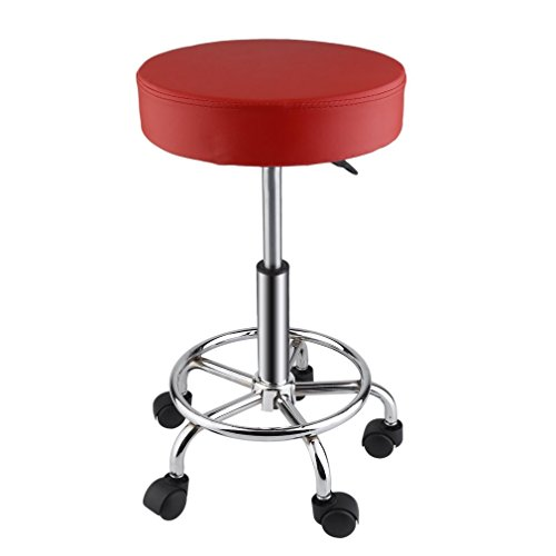 GiODLCE Hydraulic Rolling Swivel Stool, Adjustable Height Tattoo Massage Facial Spa Stool Chair (Red)