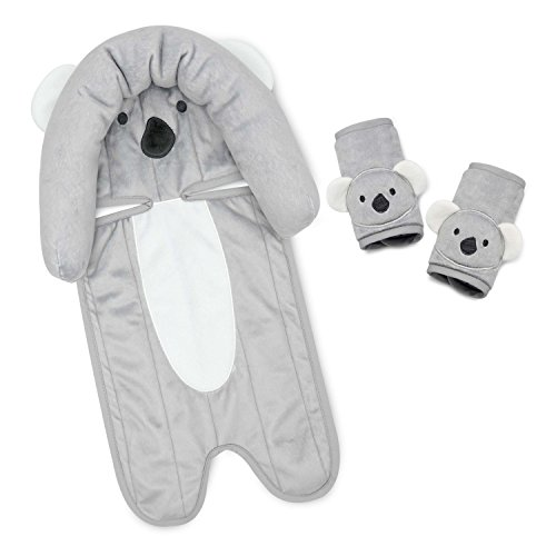 (Travel Bug Baby 2 Piece Head Support & Strap Covers Strollers and Bouncers for Car Seats, Koala- Grey/White)