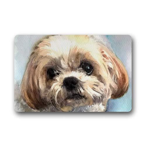 CustomLittleHome Shih Tzu Dog Watercolor Painting Custom Doormats Rug Non Slip Mats Indoor/Outdoor/Bathroom/Decor Area Rug(23.6x15.7 inch)