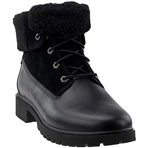 Timberland Women's Jayne Waterproof Teddy Fleece Fold Down Fashion Boot, Black Full Grain, 9 M US (Best Leather Women Boots)