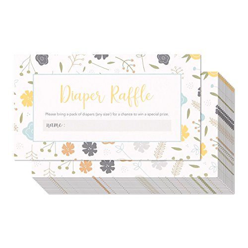 Pack of 60 Baby Diaper Raffle Tickets - Baby Shower and Gender Reveal Party Game Raffle Cards, 2 x 3.5 (Baby Shower Invitations Greetings)