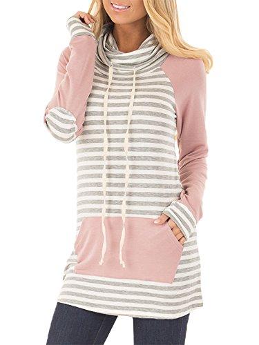 Meilidress Womens Tunic Striped Long Sleeve Raglan Sweatshirts Cowl Neck Tops with Pocket Drawstring