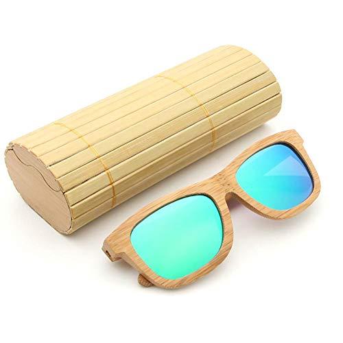 Bambú para Bambú Vendimia de con Hombre la de Polarizadas Mujer y la Gafas de Caminante de Gafas Caja Flotante de Madera AZB Verde Sol Sol de wYxXpFFq