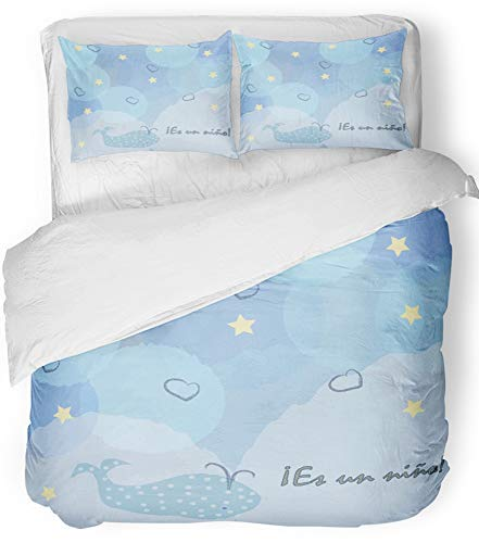 Emvency 3 Piece Duvet Cover Set Breathable Brushed Microfiber Fabric It's Boy in Spanish Language ES Un Nino Baby Birth Announcement Label Greeting Bedding Set with 2 Pillow Covers King Size (Congrats Message For New Born Baby Boy)
