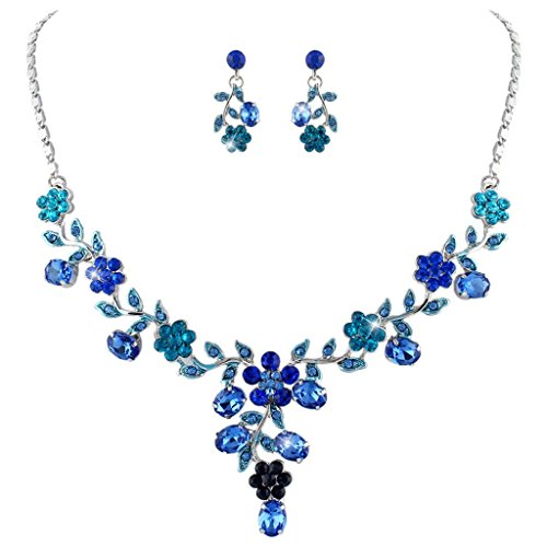 [EVER FAITH Flower Leaf Necklace Earrings Set Austrian Crystal Silver-Tone - Blue] (Necklaces And Earrings)