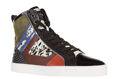 Hogan Rebel chaussures baskets sneakers hautes femme en cuir rebel r141 patchwor