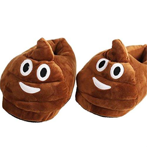 Cheriollstore Amusant Chaud Mignon Emoji Hiver Chaussures Unisexe Cherioll Pantoufles Adultes Smiley Merde