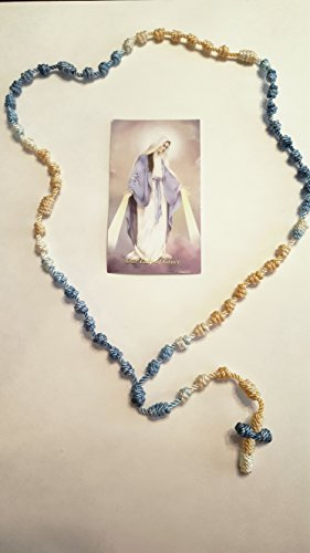 Our Lady Of Grace Cord Rosary (Gold, White and Evening Blue)