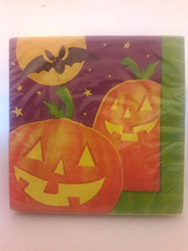 Halloween Jack-O-Lantern Pumkins Scary Pumpkin Patch Black Bat 3 Packages (Total 48) Dinner Desert Paper (Scary Halloween Pumkins)