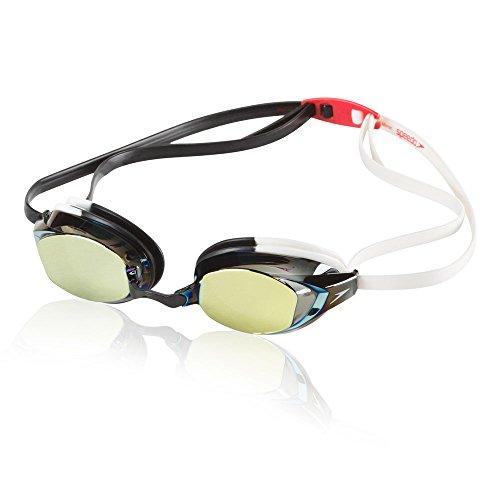 Speedo Vanquisher EV Mirrored Swim Goggles, Panoramic, Anti-Glare, Anti-Fog with UV Protection, White/Black, 1SZ ()
