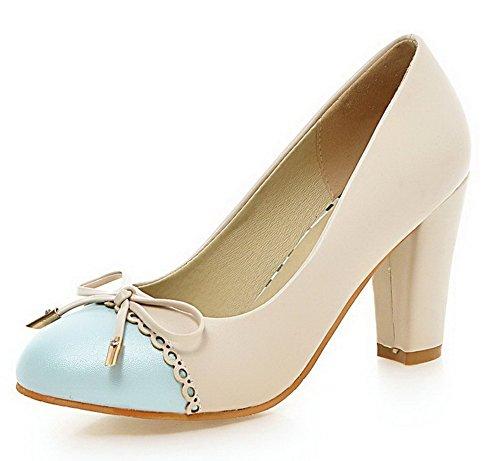 Damen Ziehen VogueZone009 Leder Gemischte Aprikosen auf Pumps PU Farbe Farbe Schuhe Absatz Hoher gBww1qxRad