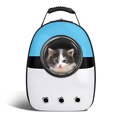 Blitzwolf Anzone Pet Portable Carrier Space Capsule Backpack, Pet Bubble Traveler Knapsack Multiple Air Vents Waterproof Lightweight Handbag for Cats Small Dogs & Petite Animals-Blue&White -