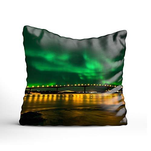 FunnyLife Aurora Borealis By The Sea Art Pillowcase -Pillowcase with Zipper, Pillow Protector Cover Cases one sided (Dreamsack White Pillowcase)