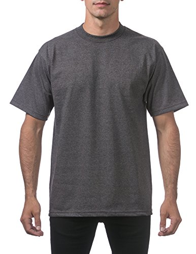 Pro Club Men's Heavyweight Cotton Short Sleeve Crew Neck T-Shirt, Large - Tall, Charcoal