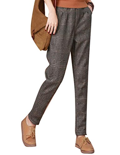 Plaid Wool Pants (SYTX Womens Casual Thicken Plaid Wool Blended Slim Fit Harem Pants As Picture XL)