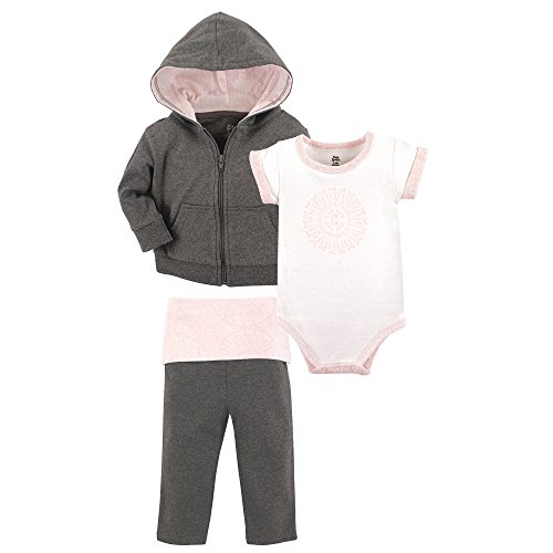 (Yoga Sprout Baby 3 Piece Jacket, Top and Pant Set, Scroll, 0-3 Months (3M))