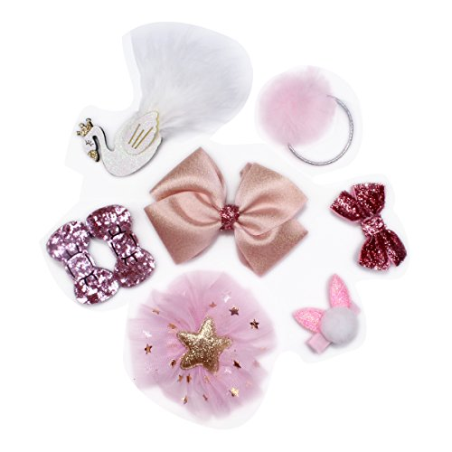 Girl Hairpin Set, 8 Pcs Kids Hair Accessories Cute Bow Knot & Cartoon Hair (Steampunk Babes)