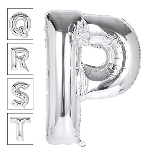 Lovne 40 Inch Jumbo Silver Alphabet P Balloon Giant Prom Balloons Helium Foil Mylar Huge Letter Balloons A to Z for Birthday Party Decorations Wedding Anniversary ()