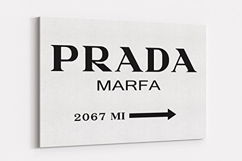Fashion wall pop art print - Illustration - Prada Marfa Black and White - Chic Glam Vogue poster on Canvas 20