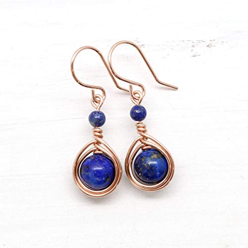 Rose Gold Wire Wrapped Earrings with Lapis Gemstones
