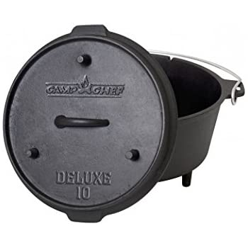 Camp Chef DO-10- 6 Quart Dutch Oven Pre-Seasoned Cast Iron with Lift Tool and Lid