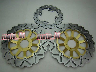 GZYF バイク リア+フロント用 ウェーブタイプ ブレーキ ディスクローター ホンダ CBR600F CBR900RR CBR400R CBR400RR CB250ホーネット CB600 VTR1000F   B01DD1OYY0