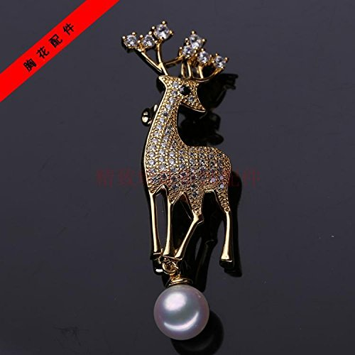 Parts thick gilded natural pearl brooch Korean version of Micro Pave elk pin brooch pectoral mountings (Mounting Micro Pave)