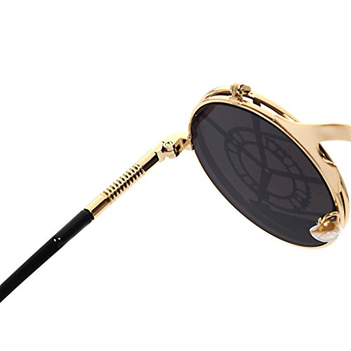 Femme ronde personnalit¨¦ Steam Vintage Punk Gold hibote V¨¦los m¨¦tal Lunettes Gothic Shades en Sunglasses Homme Clamshell qf1Uxxvzgw