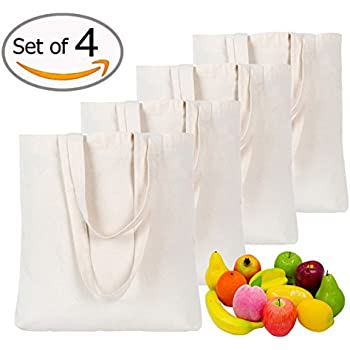 4 Pieces Canvas Bag Shopping Bag Grocery Bag Canvas Tote Bag Shoulder Bag Resuable Cotton Canvas Tote Bag for for Crafting and Decorating