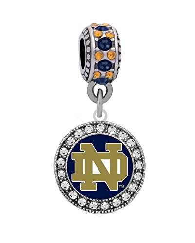 - Final Touch Gifts University of Notre Dame Logo Charm Fits European Style Large Hole Bead Bracelets