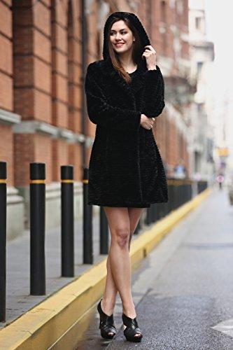 Adelaqueen Negro Para de Estilos de Mujer Piel Chaqueta Persa de Diversos de Abrigo Sintética Invierno Estupendo Piel Tres en Cordero Cuartos RrwARq