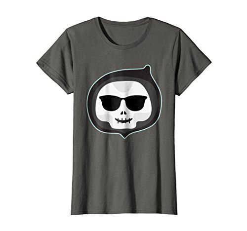 Womens Skeleton Emoji T-Shirt Cool Shades Halloween Gift