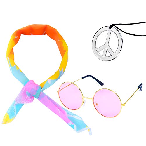 Elcoho 3 Pack Hippie Costume Set 60's Costumes Sunglasses Peace Sign Necklace Headband -