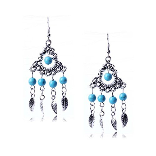 Vintage Blue Embossed Crystal Post Dangle Drop Hook Earrings